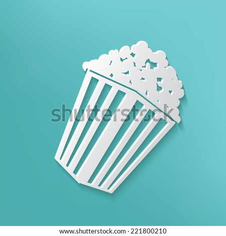 Popcorn symbol on blue background,clean vector - stock vector