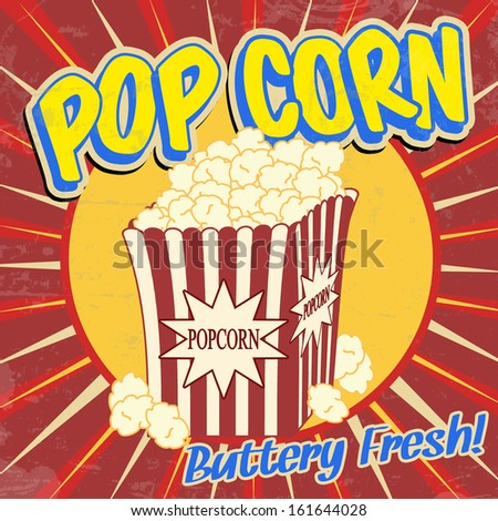 Popcorn vintage grunge poster, vector illustration - stock vector