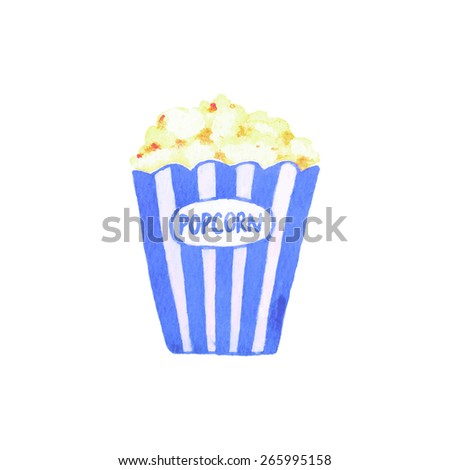 Popcorn. Watercolor popcorn bucket on the white background, aquarelle. Vector illustration. Hand-drawn decorative element. Real watercolor painting - stock vector