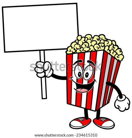 Popcorn with Sign - stock vector