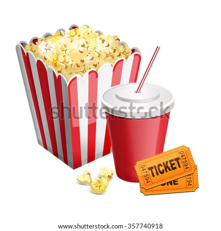 popcorn with soda and tickets isolated on white 10 eps - stock vector