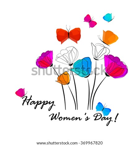 Poppies and Butterflies. Happy Women's Day. Card. Vector - stock vector