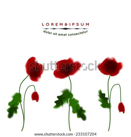 Poppies in watercolor style. Vector - stock vector