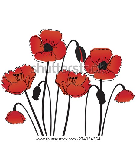 Poppy background. Vector - stock vector