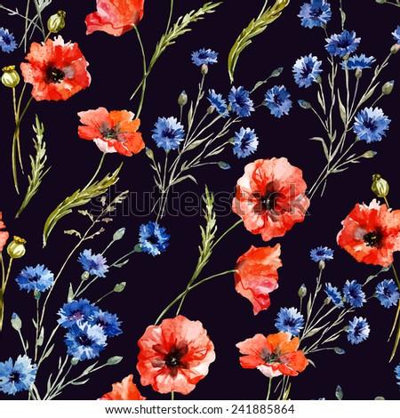 poppy, cornflower, watercolor, background - stock vector