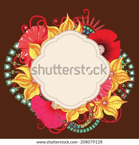 Poppy flower  card  design . Eps 10. - stock vector
