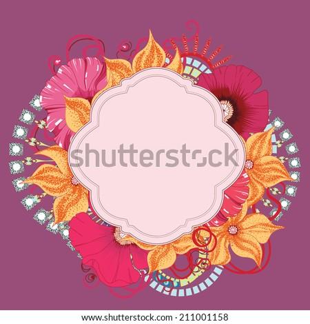 Poppy flower card design . Eps 10 - stock vector