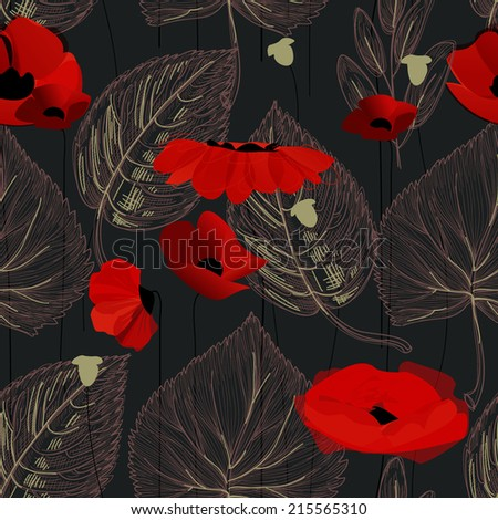Poppy flowers and leaf seamless pattern over black - stock vector