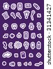 Populair purple buttons icons set for web applications - easy to edit vector - stock vector