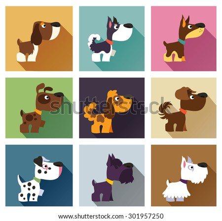 Popular breeds of dog in simple flat style. Icons isolated on white