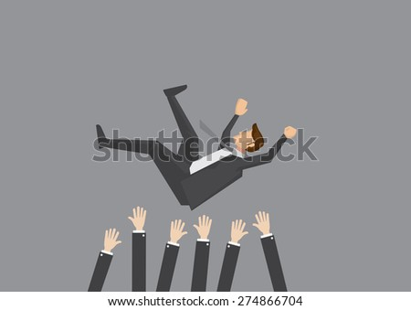 Popular businessman get thrown into the air by coworkers during celebration. Vector illustration for business concept isolated on plain grey background.  - stock vector