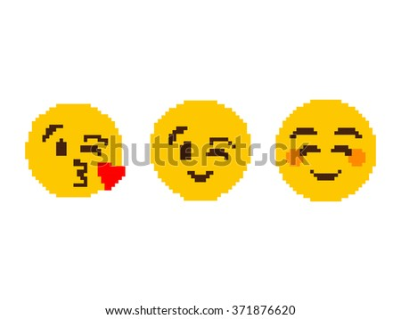 Popular Cartoon Face Pixel Art Background - stock vector