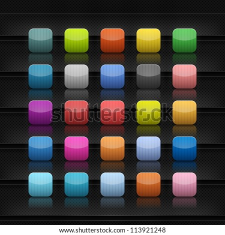 Popular color empty icon for web application. Striped rounded square button with shadow and reflection on shelf. Black background with the structure of the grid. Vector illustration saved in 10 eps