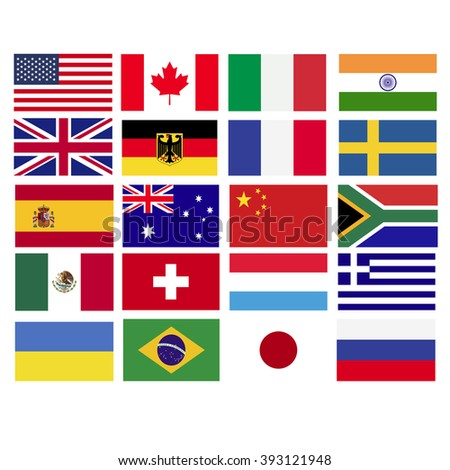 Popular countries flags vector graphics