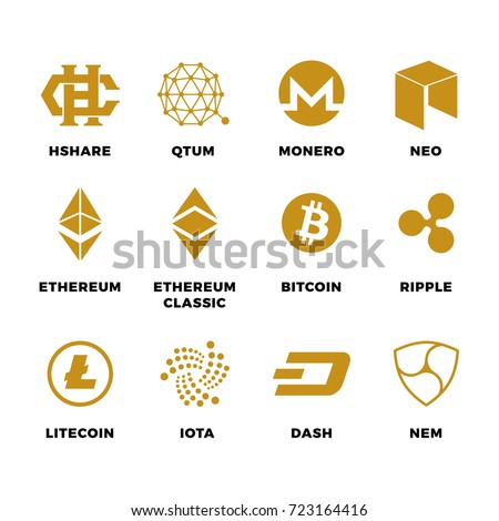 Popular Cryptocurrency Bitcoin Blockchain Vector Symbols Virtual Money And Ethereum Litecoin