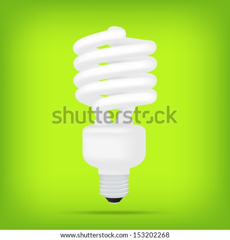popular eco green compact fluorescent lamps white energy saving light bulb realistic isolated vector - stock vector