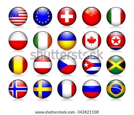 Popular Flag Glossy Icons Set - stock vector