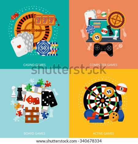 Popular gambling games of fortune entertainment casino poster with 4 flat icons composition abstract isolated vector illustration - stock vector