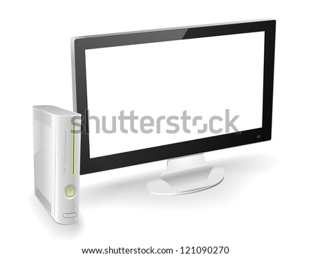 Popular game console with a TV in 3/4 view. Can be used with custom pictures or video. - stock vector