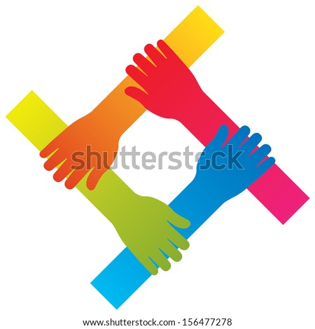popular hand connecting teamwork icon concept isolated vector - stock vector