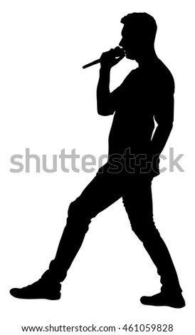 Popular singer super star vector silhouette illustration isolated on white background. Attractive music artist on the stage. Singer man artist against public on concert.