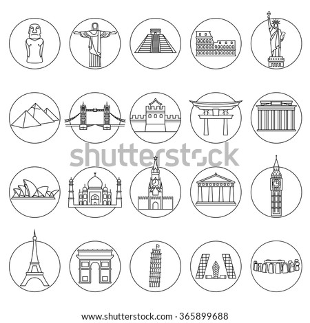 Popular travel landmarks icons - vector set of thin line monuments symbols or logo elements - stock vector