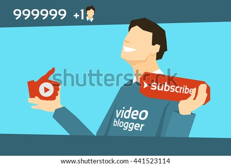 Popular Video Blogger Man With Like Subscribe Button Flat Vector Illustration - stock vector