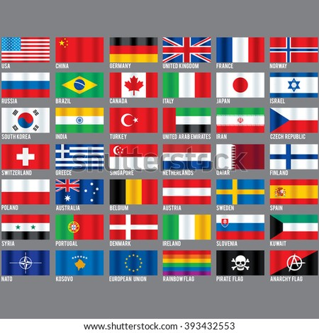 Popular World Flags. Set include Kosovo, Nato, Pirate, Gay Pride and Anarchy Symbols. Vector Icons Ready for Your Design.