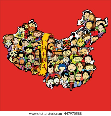 Population of China. Cartoon Chinese people set. - stock vector