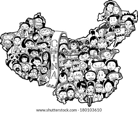 Population of China (vector eps10) - stock vector