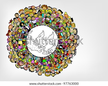 Population of Our World in Colour (vector eps10) - stock vector