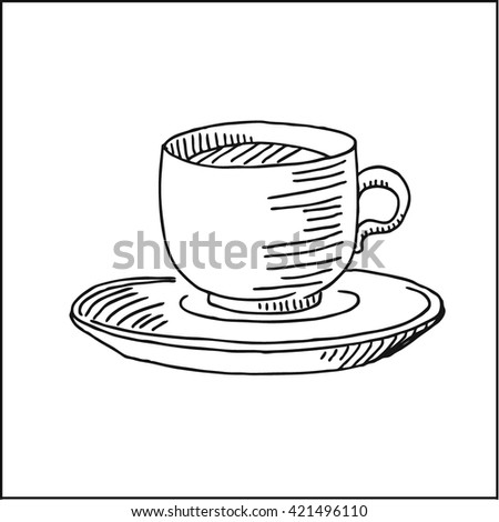 porcelain coffee cup and saucer. vector hand drawn sketch illustration - stock vector