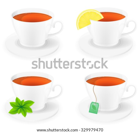 porcelain cup of tea with lemon and mint side view vector illustration isolated on white background - stock vector