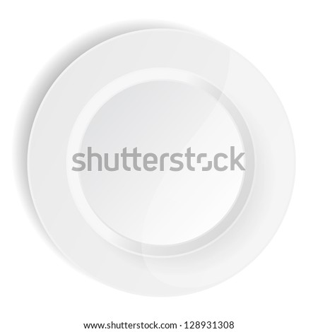 porcelain plate on white background - stock vector