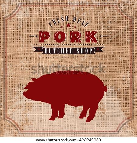 Pork Butcher Shop Vintage Emblem Meat Stock Vector 496949080