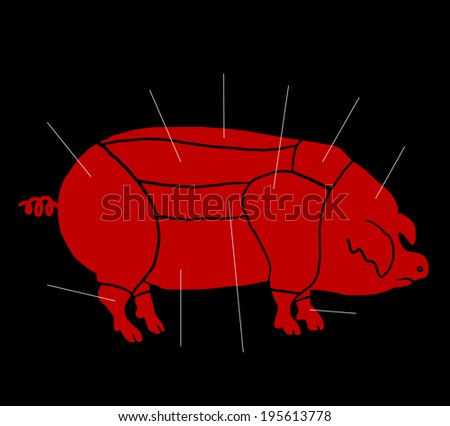 Pork parts - stock vector