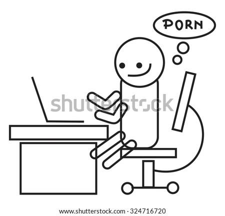 porn addict - stock vector