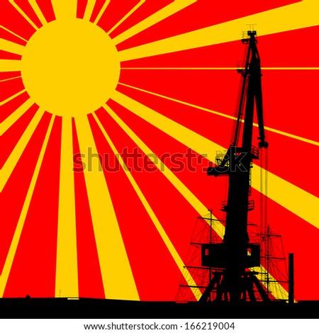 Port crane silhouette over sunset background. EPS10 vector. - stock vector