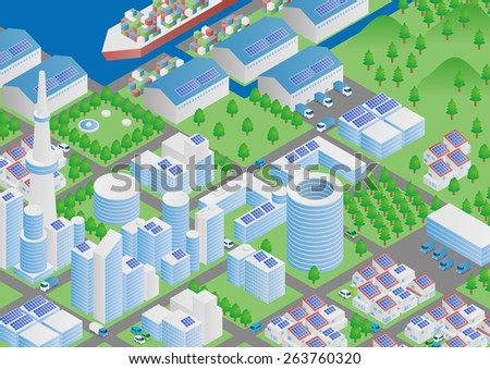 Port town and Logistics illustration - stock vector
