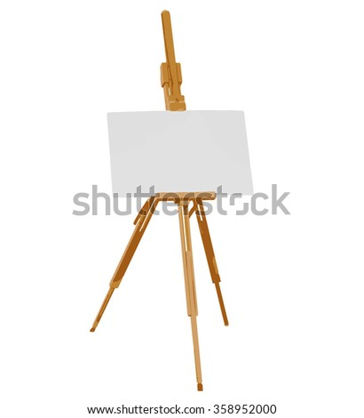 portable artist easel with empty canvas color vector