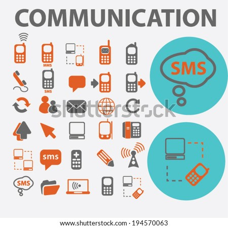 portable communication icons set, vector