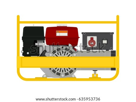 Portable Electric Generator Side View Flat Stock-vektorgrafik ...