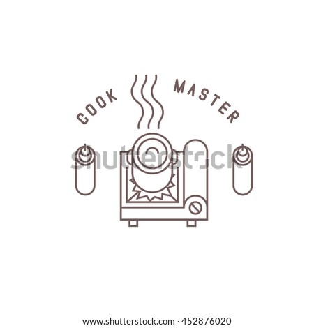 "portable gas stove, thin line style logo with ""cook master"" lettering, isolated vector illustration icon on white background. - stock vector"