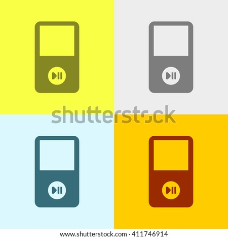 Portable Media Player Icon on Four Different Backgrounds. Eps-10. - stock vector