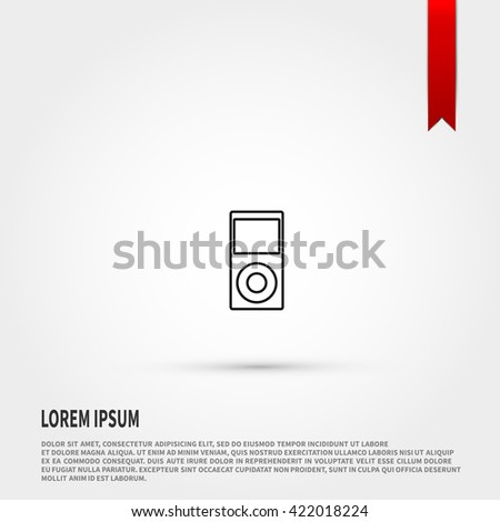 Portable media player icon. Portable media player symbol. Flat design style. Template for design. - stock vector