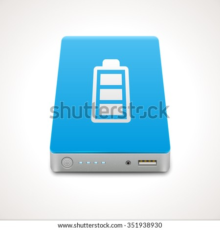 Portable Power Bank. Vector icon of a battery for charging mobile devices - stock vector