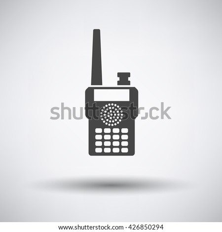 Portable radio icon on gray background with round shadow. Vector illustration. - stock vector