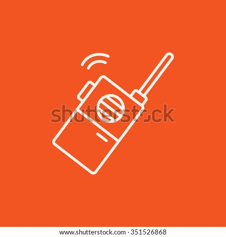 Portable radio set line icon for web, mobile and infographics. Vector white icon isolated on red background. - stock vector