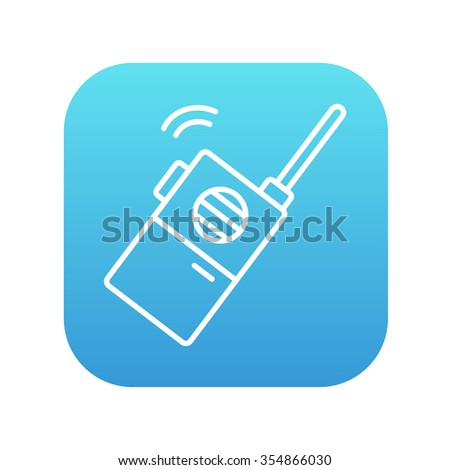 Portable radio set line icon for web, mobile and infographics. Vector white icon on the blue gradient square with rounded corners isolated on white background. - stock vector