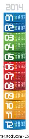 portable 2014 year vector calendar - stock vector